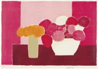 nature morte rose et mauve by bernard cathelin
