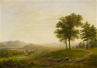 schlesische landschaft mit holzsammler by w. dehn