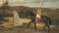 merlin and lancelot, an incident from la morte d'arthur by james archer