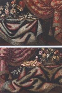 natura morta di biscotti su vassoio, fiori in cesto su tappeto e tendaggio a sinistra by francesco fioravanti