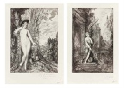 les fables de la fontaine set of 6 by gustave moreau