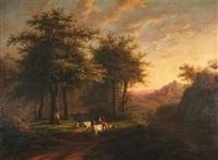 landschaft im abendlicht mit spaziergängern und kühen am waldrand (+ another, similar; pair) by caesar bimmermann