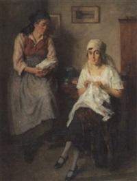zwei frauen lesen einen brief by conrad pfau