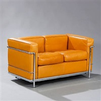 lc 2 free standing two seater sofa by le corbusier