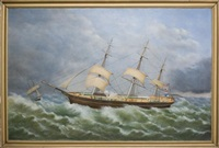 clipper ship express in rough seas by robert w. foster