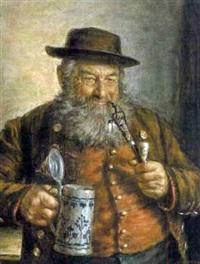 bauer mit kurzpfeife und steinzeugkrug by h. melkus