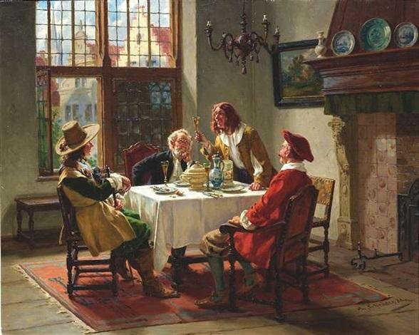 hollndische herren im historischen interieur beim mahl by albert friedrich schrder