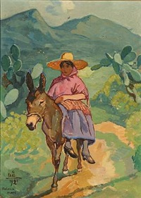 woman riding a donkey by acke aslund