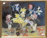 still life of daffodils, iris, rhododendron, tulips and lilac in a jug by lena alexander