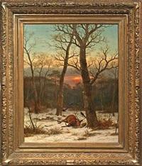 toter hirsch im abendlichen winterwald by caesar bimmermann