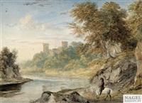 sommerliche flusslandschaft mit bothwell castle auf einer anhöhe by ramsay richard reinagle