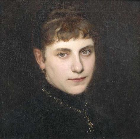 bildnis einer dame in schwarzem kleid mit goldener kette in dreiviertelansicht by friedrich august von kaulbach