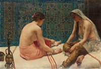 a scene from the harem by paul alexandre alfred leroy