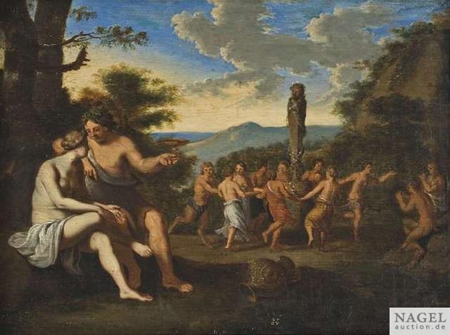 bacchanal mit nymphen und faunen beim tanz um eine panstatue by cornelis van poelenburgh