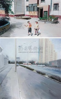 bus/去那边 (两张一组) (bus / go over there.) (2 works; various sizes) by ma yunfei