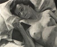 liegender weiblicher akt mit buch by hans steiner