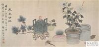 stillleben mit chrysanthemen und weihrauchbrenner by xian cha