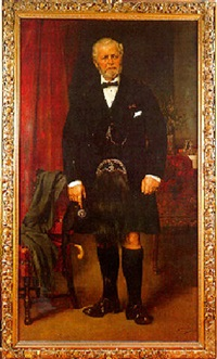 portrait of john brown, full-length, at windsor castle in a black coat and kilt, he holds a glengarry by carl rudolph sohn