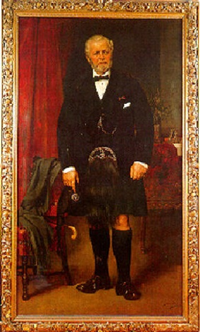 portrait of john brown full length at windsor castle in a black coat and kilt he holds a glengarry by carl rudolph sohn