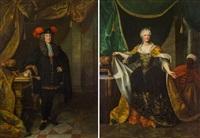 pendants - kaiser karl vi. (1685-1740) & elisabeth christine von braunschweig-wolfenbüttel (1691-1750) by johann gottfried auerbach