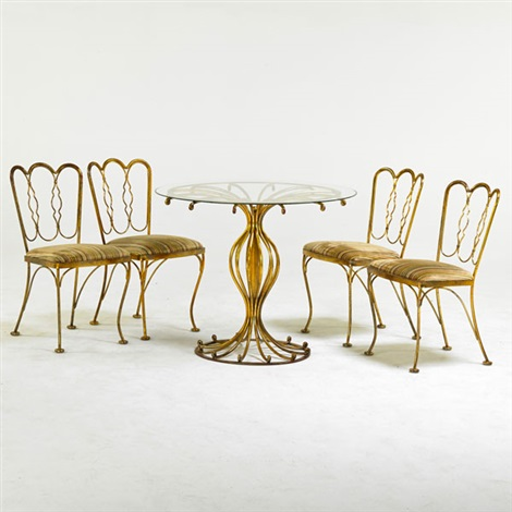 Beau Breakfast Set: Table And Four Chairs,, Owosso (5 Works) By Woodard