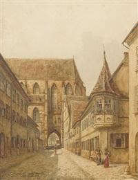 altstadtpartie mit gotischer kirche by edmund frederic arthur krenn