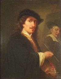 bildnis eines niederländischen malers des 17. jahrhunderts an der staffelei by gottlob fischer