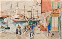 escena portuaria by alfred figueras