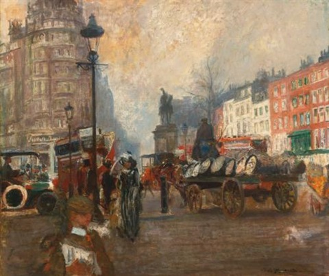 knightsbridge seen from sloane street december by jacques emile blanche