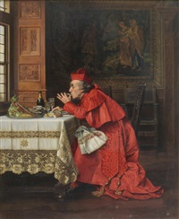 interior scene with a cardinal eating oysters and drinking champagne by françois brunery