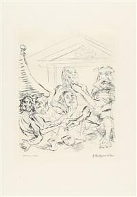 folge von 12 bll.: die frösche des aristophanes by oskar kokoschka