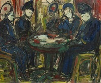 card players by michel marie poulain