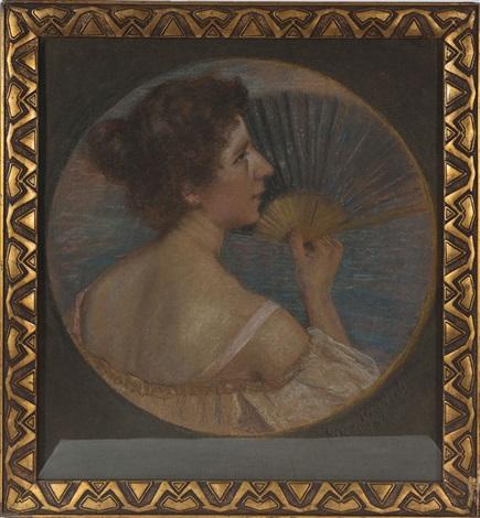 porträt einer dame mit fächer by friedrich august von kaulbach