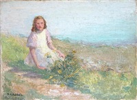 girl picking flowers along the shore by marie marguerite frechette