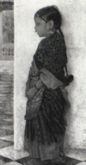 portraet af lille orientalsk pige i sari by hermann linde