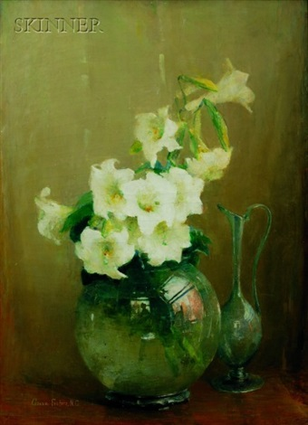 lilies in glass vase by anna s fisher
