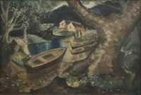 boats in a landscape by arthur armstrong