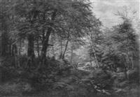 sommerlicher laubwald mit bachlauf und staffagen by peter helbig