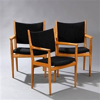 jh 513 armchairs (set of 3) by hans j. wegner