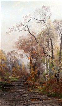 skogsväg i höstskrud by arvid mauritz lindström