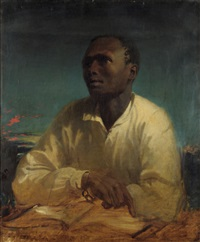 portrait of a negro slave wearing a cream shirt, his wrists in chains by john simpson