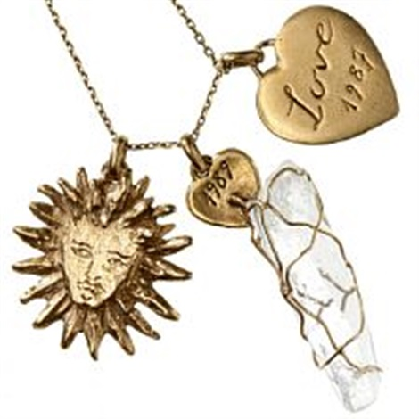 A necklace with three pendants of 18k gold partly set with rock a necklace with three pendants of 18k gold partly set with rock crystal by yves saint mozeypictures Image collections