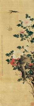 富贵双燕图 立轴 设色绢本 by guan huai