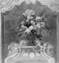 bloemstilleven op een plint by albartus otto swalue