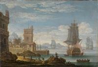 eine mediterrane küstenlandschaft mit vor anker liegenden kriegsschiffen by jan van bunnick