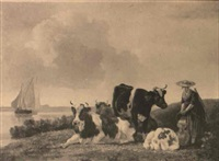 lady with cattle along a lake with sailboats by leendert de koningh the younger
