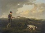 w danby esq of swinton, yorkshire, standing holding a gun, a pointer nearby by julius caesar ibbetson
