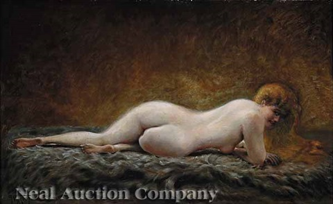 reclining red haired nude by georges emile viardot