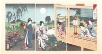 betsuka no tsuki (triptych from settsugekka no uchi, neige, lune et fleurs) by toyohara chikanobu