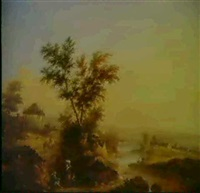 river landscape with rushes by a path by jane nasmyth